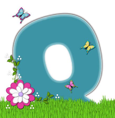 flutter: The letter Q, in the alphabet set Happy Springtime, is turquoise.  Letter is sitting on bright green grass and is decorated with flower and vines.  Butterflies flutter around letter.