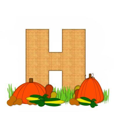 """bounty: La letra H, en el conjunto del alfabeto de """"Beato Bounty"""", está lleno de textura de mimbre. Carta sienta en el campo de hierba rodeado de verduras de otoño."""