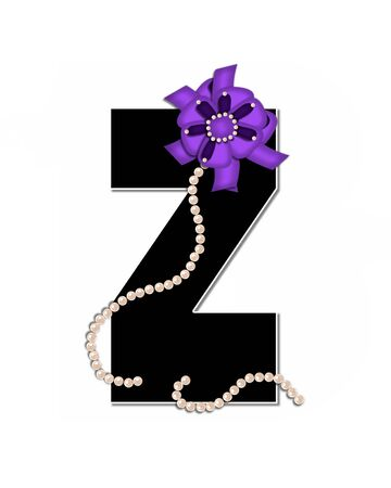 lay: The letter Z, in the alphabet set Ribbon Trimmed, is black, outlined with white.  Letter is decorated with colorful bow trimmed with pearls.  Strands of pearls fall from bow and lay at bottom of letter.