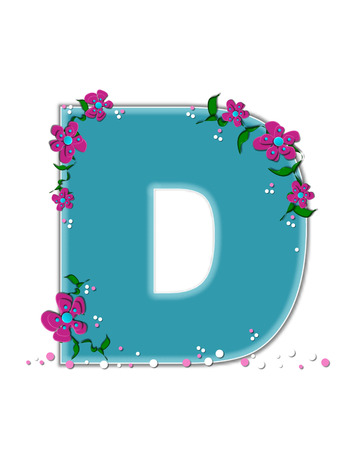 ivy vine: The letter D, in the alphabet set Fairy Tale Garden, is aqua and decorated with 3D flowers, vines and confetti. Stock Photo