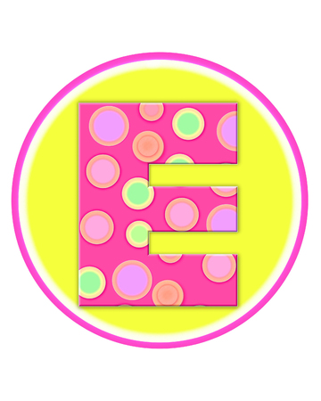 The letter E, in the alphabet set Circle Party is decorated with polka dots in pink, green and orange.  Letter sits on a two color circle of yellow and pink. Stock Photo