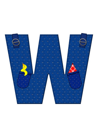 straps: The letter W, in the alphabet set Farmer Brown, is denim with straps and pockets.  Checkered handkerchief peeks out of pocket. Stock Photo