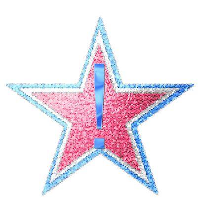 """exclamation point: Point d'exclamation, dans l'ensemble de l'alphabet """"Red White and Blue"""" est bleu métallique. Lettre est assis sur trois étoiles mosaïque de rouge, blanc et bleu."""