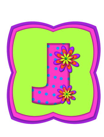 hot pink: The letter J, in the alphabet set Daisy Daze, is colored in vivid pink with teal polka dots.  It is decorated with four layered daisies.  All sit on a pillow of neon green, hot pink and purple.