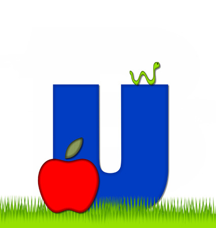 yard sign: The letter U, in the alphabet set Apple a Day Eaten Away, is blue.  Letter is sitting on green grass.  A green worm crawls around letter.