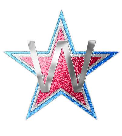 metalic background: The letter W, in the alphabet set All Star is silver metalic.  Three stars of red, white and blue form background. Stock Photo