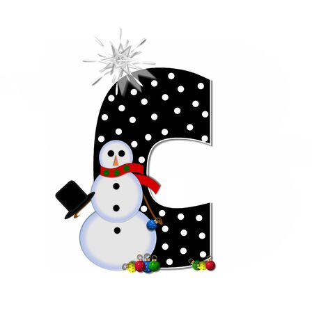 The letter C, in the alphabet set Frosty, is black and decorated with a snowman and Christmas ornaments.  Snowman is wearing a red scarf and alphabet letter is topped with a glowing white star.