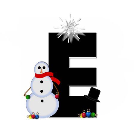 topped: The letter E, in the alphabet set Frosty, is black and decorated with a snowman and Christmas ornaments.  Snowman is wearing a red scarf and alphabet letter is topped with a glowing white star. Stock Photo