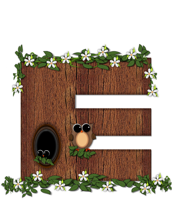 The letter E, in the alphabet set Log Home is filled with wod texture.  Flower bloom on vines hanging on letter.  One owl hides in knothole and the other outside the stump home.