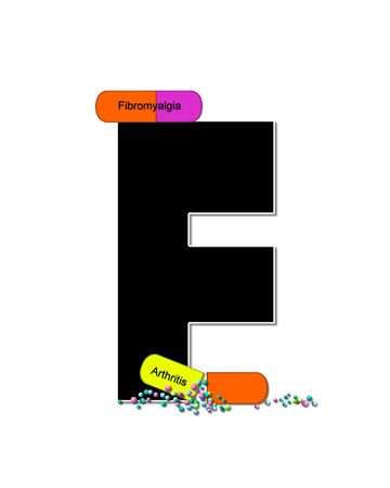 The letter F, in the alphabet set Wellness Check, is black and outlined with white.  RX capsules decorate letter with health diseases on each capsule.