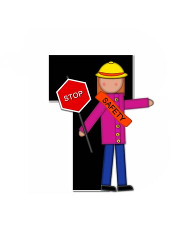 wears: The letter T, in the alphabet set Children School Patrol, is black and outlined with white.  Child dressed as crossing guard wears banner, hat and carries sign.