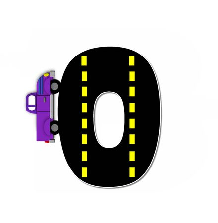 motorized: The letter O, in the alphabet set Transportation by Road, is black with yellow dividing line representing a black top road.  Colorful, motorized vehicle navigates outside of letter. Stock Photo