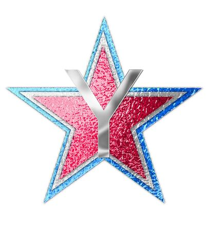 metalic: The letter Y, in the alphabet set All Star is silver metalic.  Three stars of red, white and blue form background.