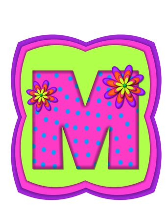daisy pink: The letter M, in the alphabet set Daisy Daze, is colored in vivid pink with teal polka dots.  It is decorated with four layered daisies.  All sit on a pillow of neon green, hot pink and purple.