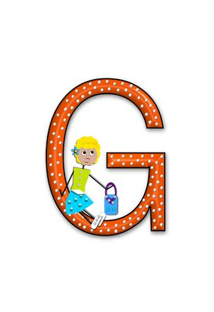 The letter G, in the alphabet set Diva Doll, is polka dotted.  Girl dolls decorate letter dressed in skirt and carrying a purse and flower. Stock Photo