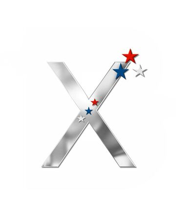 The letter X, in the alphabet set Plain Patriotism is silver metalic.  Three stars decorate letter with red, white and blue.  Letters coordinate with Alphabet Patriotism.