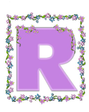 The letter R, in the alphabet set Daisy Fair Lilac is a soft pastel shade of lilac.  Garland of ivy and flowers covers outline of letter and small chains of flowers hang from letter. Zdjęcie Seryjne