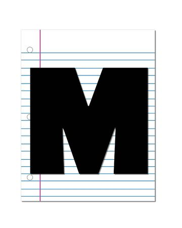 coordinates: The letter M, in the alphabet set Start of School, is black.  Letter is setting on a blank piece of notebook paper.  This set coordinates with Alphabt Start of School Two which has children and pencils. Stock Photo