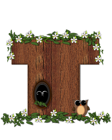 The letter T, in the alphabet set Log Home is filled with wood texture.  Flower bloom on vines hanging on letter.  One owl hides in knothole and the other outside the stump home. Stock Photo