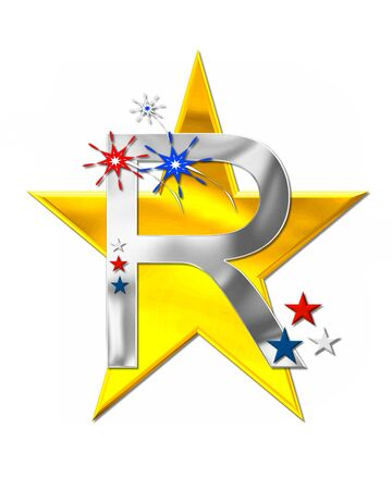 The letter R, in the alphabet set Patriotism is silver metalic.  Fireworks and stars decorate letter with red, white and blue.  Golden star serves as background.