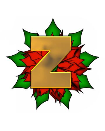 scrap gold: The letter Z, in the alphabet set Christmas Poinsettia is shiny gold metallic.  Letter sits on a large red, poinsettia. Stock Photo