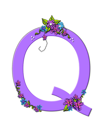 The soft, lilac letter Q, in the alphabet set Burst of Spring Lilac is decorated with bouquets of 3D flowers, with dots in white and black and vines of green. Zdjęcie Seryjne