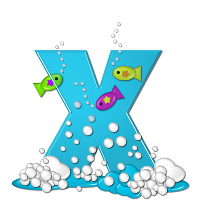 school of fish: The letter X, in the alphabet set Bubbly Fish, is bright aqua and has bubbles and wave action at bottom of letter.  Transparent layer allows colorfor fish to swim in and out of letter. Stock Photo