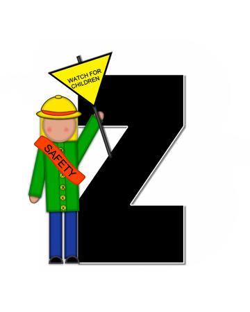 Z、アルファベットで「子供学校パトロール」が設定された文字は黒と白で輪郭を描かれました。 子に扮した帽子と運ぶ署名バナーを着てガードを渡