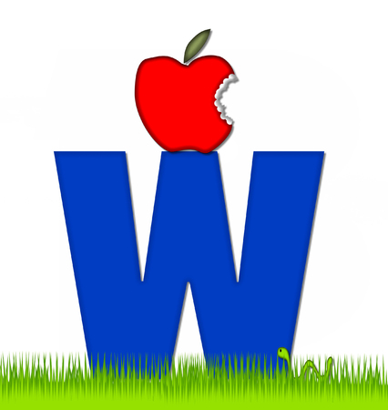 eaten: The letter W, in the alphabet set Apple a Day Eaten Away, is blue.  Letter is sitting on green grass.  A green worm crawls around letter. Stock Photo