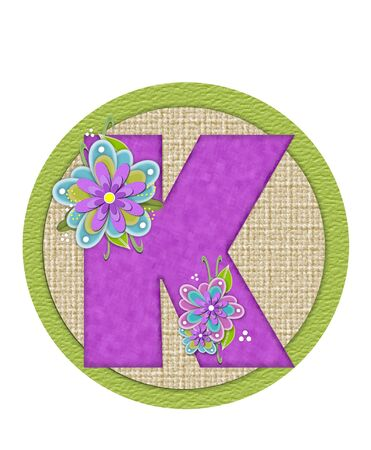 The letter K, in the alphabet set Backyard Bouquet, is lilac and decorated with layered flowers in blue and lilac.  Background circle has woven texture and outlined in green.