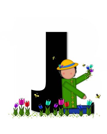 straw hat: The letter J, in the alphabet set Children Spring Tulips is black and trimmed with white.  Child holds bouquet of tulips and wears a straw hat.  Tulip garden grows at her feet.