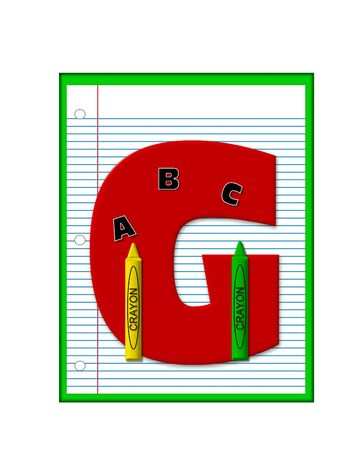 decorate notebook: The letter G, in the alphabet set Grade School Homework  is  red and and sits on background of notebook paper.  Crayons and ABCs decorate letter.