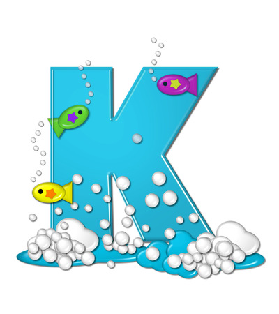 fish type: The letter K, in the alphabet set Bubbly Fish, is bright aqua and has bubbles and wave action at bottom of letter.  Transparent layer allows colorfor fish to swim in and out of letter.