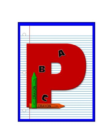 decorate notebook: The letter P, in the alphabet set Grade School Homework  is  red and and sits on background of notebook paper.  Crayons and ABCs decorate letter.