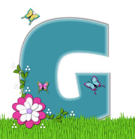 flutter: The letter G, in the alphabet set Happy Springtime, is turquoise.  Letter is sitting on bright green grass and is decorated with flower and vines.  Butterflies flutter around letter. Stock Photo