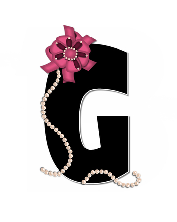 The letter G, in the alphabet set Ribbon Trimmed, is black, outlined with white.  Letter is decorated with colorful bow trimmed with pearls.  Strands of pearls fall from bow and lay at bottom of letter.