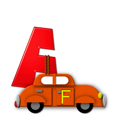 The letter F, in the alphabet set Alphabet On the Go is tied with rope to transportation vehicles in different colors, shapes and sizes.  Letter is 3D, red and ready to GO!