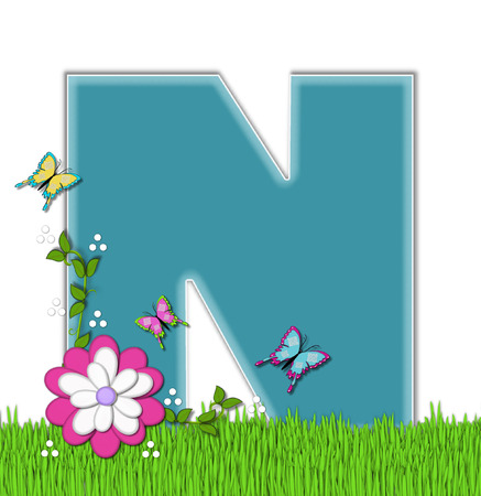 flutter: The letter N, in the alphabet set Happy Springtime, is turquoise.  Letter is sitting on bright green grass and is decorated with flower and vines.  Butterflies flutter around letter.