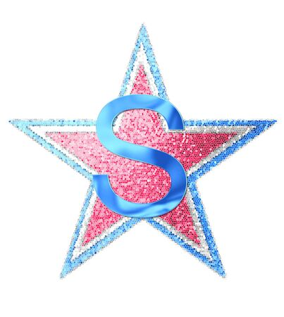 independance day: The letter S, in the alphabet set Red White and Blue is blue metallic.  Letter sits on three mosaic stars of red, white and blue.