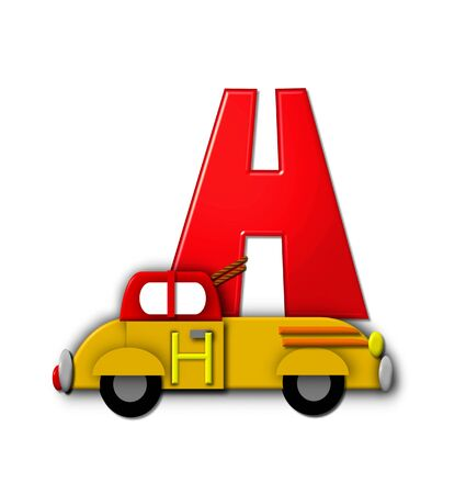 hauling: The letter H, in the alphabet set Alphabet On the Go is tied with rope to transportation vehicles in different colors, shapes and sizes.  Letter is 3D, red and ready to GO!