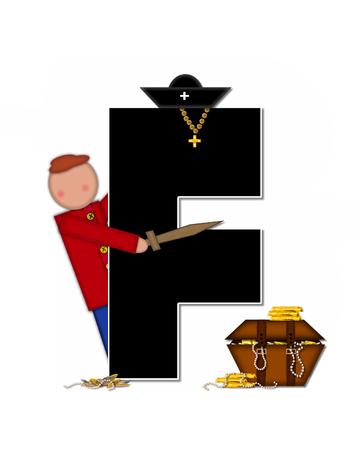 loot: The letter F, in the alphabet set Children Pirates, is black outlined with white.  Children play pirates with wooden sword, treasure chest, gold and pearls. Stock Photo