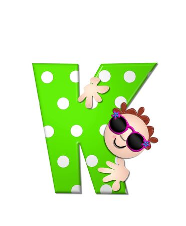 The letter K, in the alphabet set Bahama Sunny, is vivid green with large white polka dots.  Beach dude peeks his head in and around letter holding it with his hands. Stock Photo