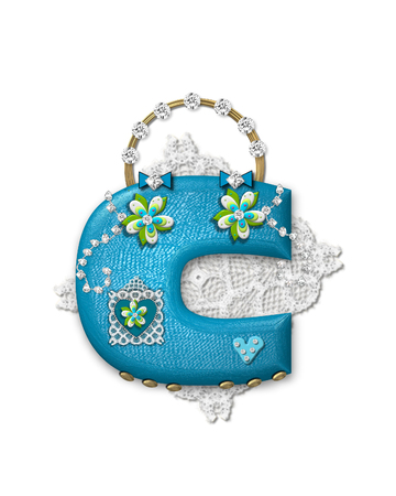The letter C, in the alphabet set Bling Bag, depicts aqua letter as a blinged out purse with gold handle.  Letter has lace, diamonds and flowers.  Background framing letter is a lace handkerchief.