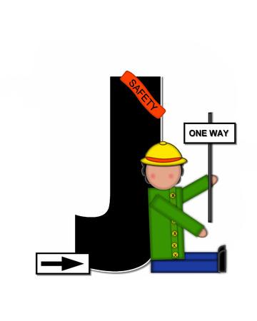 J、アルファベットで「子供学校パトロール」が設定された文字は黒と白で輪郭を描かれました。 子に扮した帽子と運ぶ署名バナーを着てガードを渡