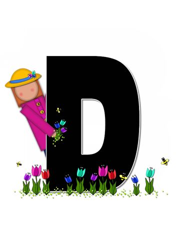 straw hat: The letter D, in the alphabet set Children Spring Tulips is black and trimmed with white.  Child holds bouquet of tulips and wears a straw hat.  Tulip garden grows at her feet.