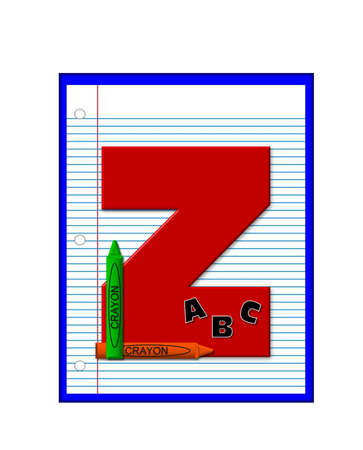 decorate notebook: The letter Z, in the alphabet set Grade School Homework  is  red and and sits on background of notebook paper.  Crayons and ABCs decorate letter. Stock Photo