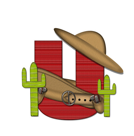 theif: The letter U, in the alphabet set Bandido, is a red lined, tight woven pattern.  Letter is wearing a gun belt and blanket with a somberro on top.  Two cacti sit at each side.