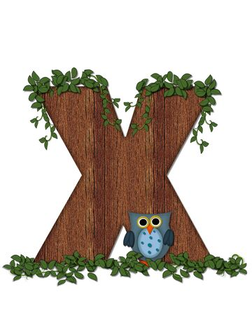 The letter X, in the alphabet set Deep Woods Owl is filled with wod texture and has vines growing all over it.  Owl sits on log-style letter.