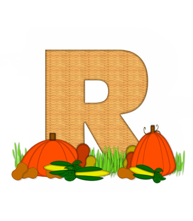 bounty: The letter R, in the alphabet set Blessed Bounty, is filled with wicker texture.  Letter sits in grassy field surrounded by Fall vegetables.