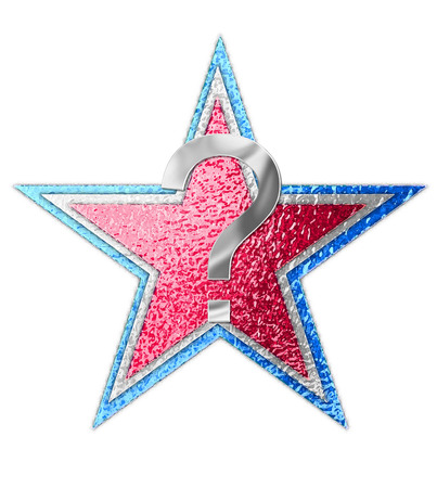 metalic: Question mark, in the alphabet set All Star is silver metalic.  Three stars of red, white and blue form background.